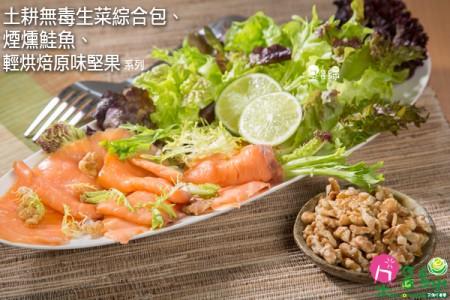 輕享受~  無毒萵苣生菜綜合包6入加煙燻鮭魚3包免運組